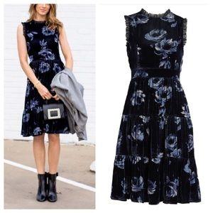 NEW Kate Spade Velvet Dress Night Rose Floral Blue